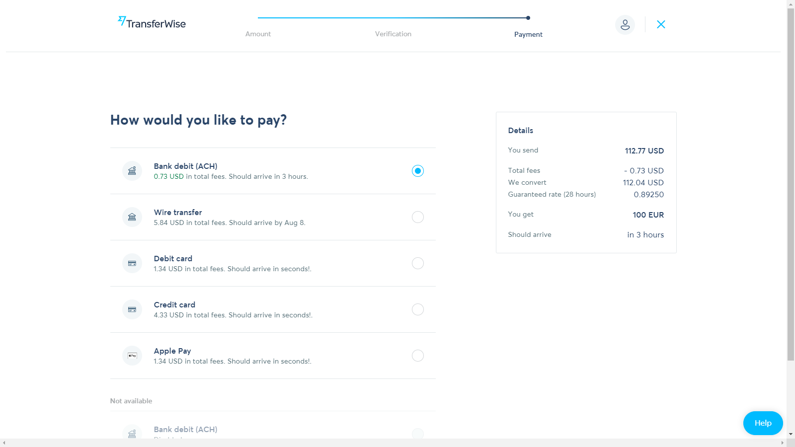 transferwise currency exchange fintech example of clear microcopy and fee breakdown