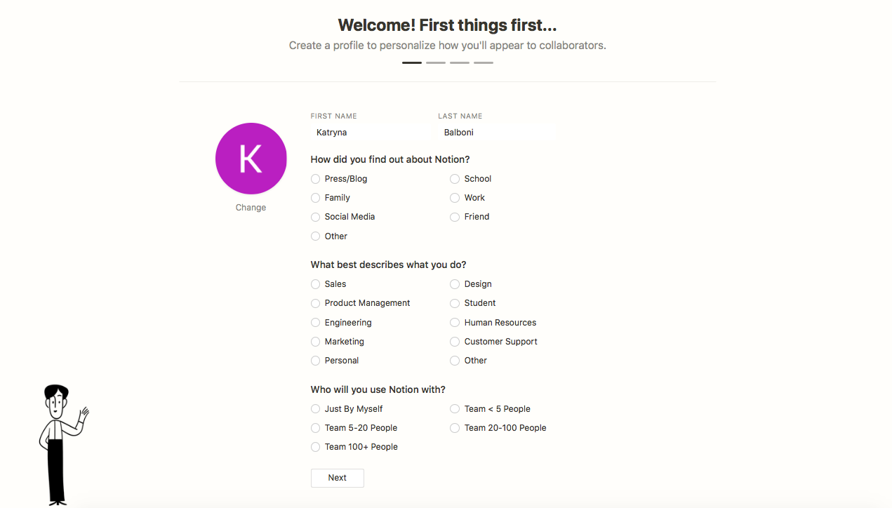 notion user onboarding create a profile signup questions