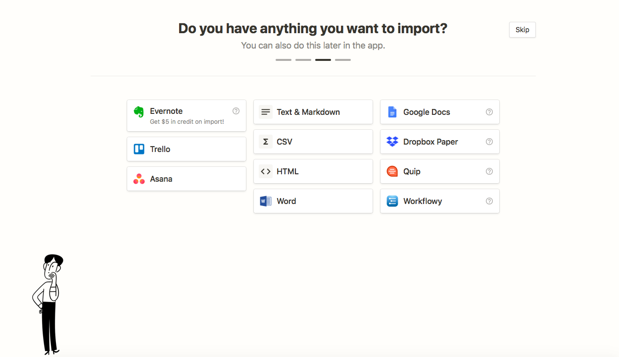 connect apps during onboarding notion example—import data from trello, asana, word, dropbox, quip, google docs, into notion