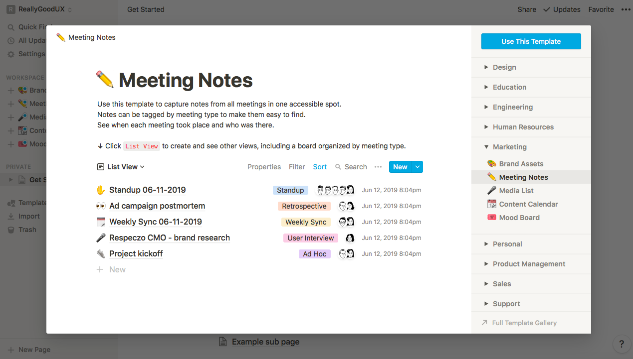 notion meeting notes use case template large modal preview window