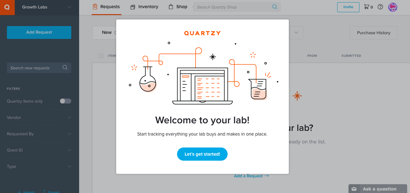 quartzy dashboard modal welcome window