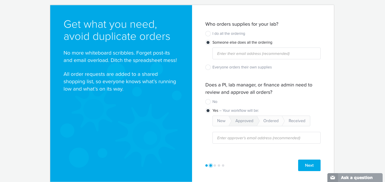 quartzy user onboarding split screen personalizing signup question with toggled manual input fields