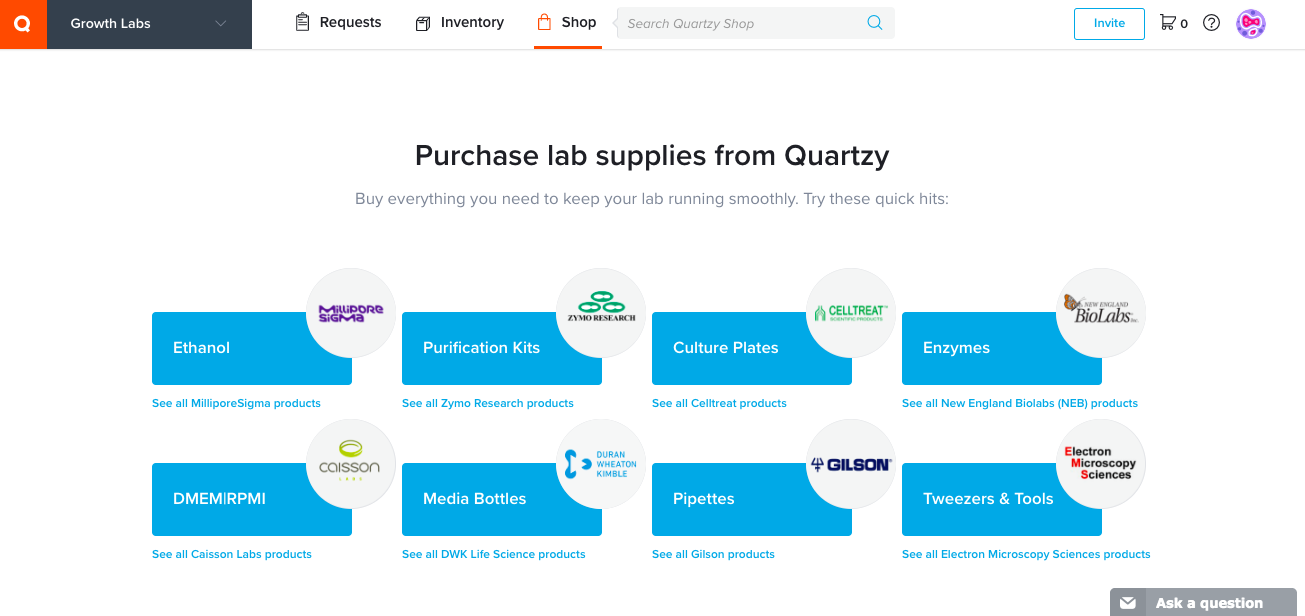 quartzy dashboard shop new user experience