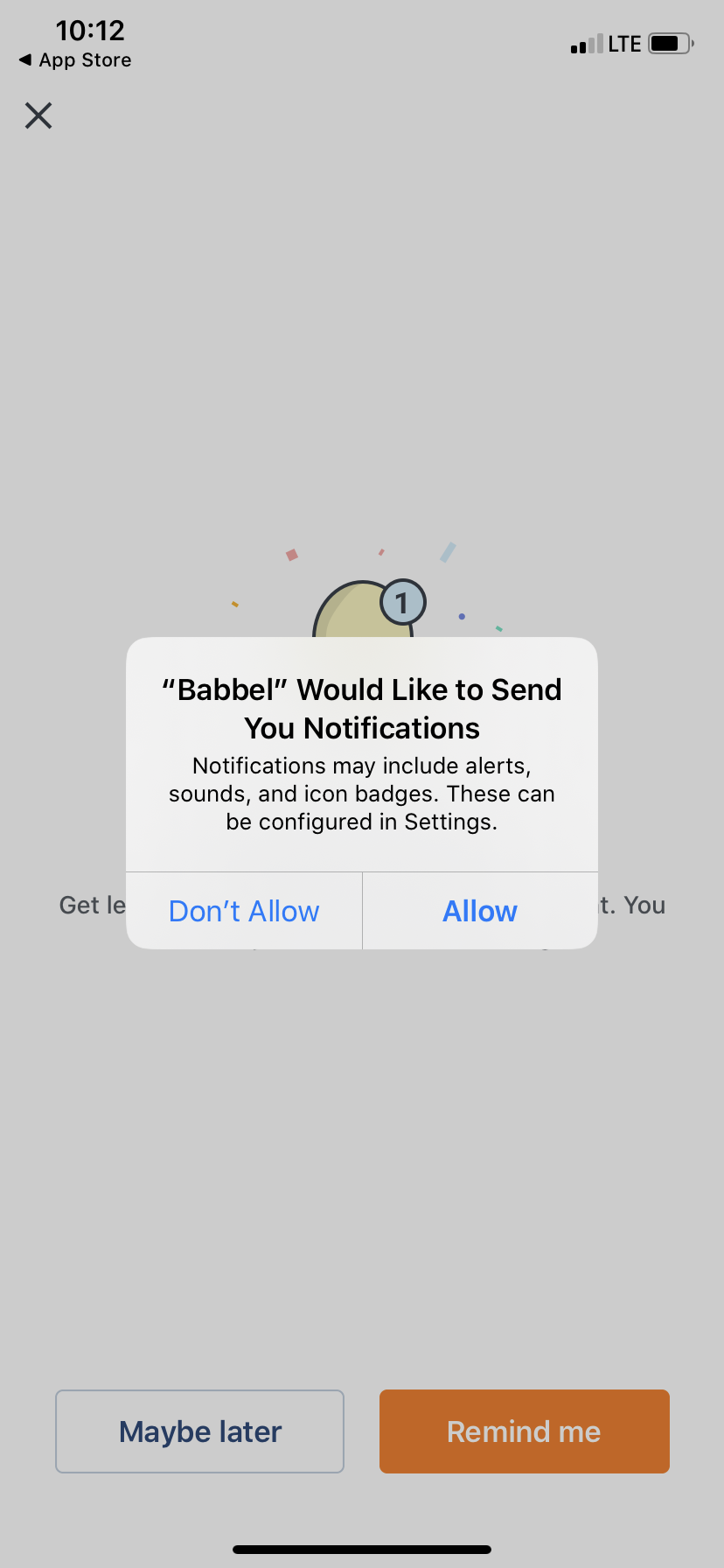 babbel app user onboarding mobile permission priming push notification example