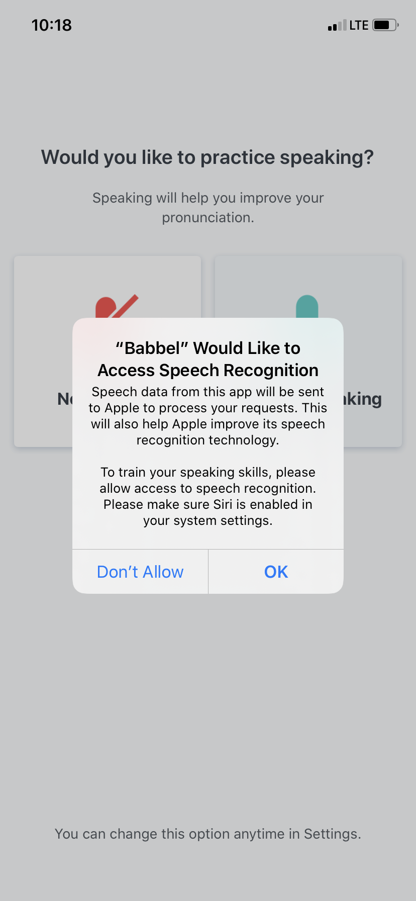 babbel app user onboarding mobile microphone access request permission priming 3