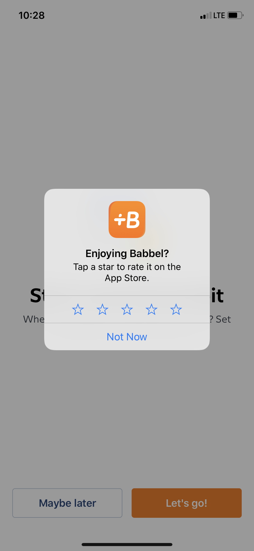 babbel app user onboarding mobile app store star rating request popup
