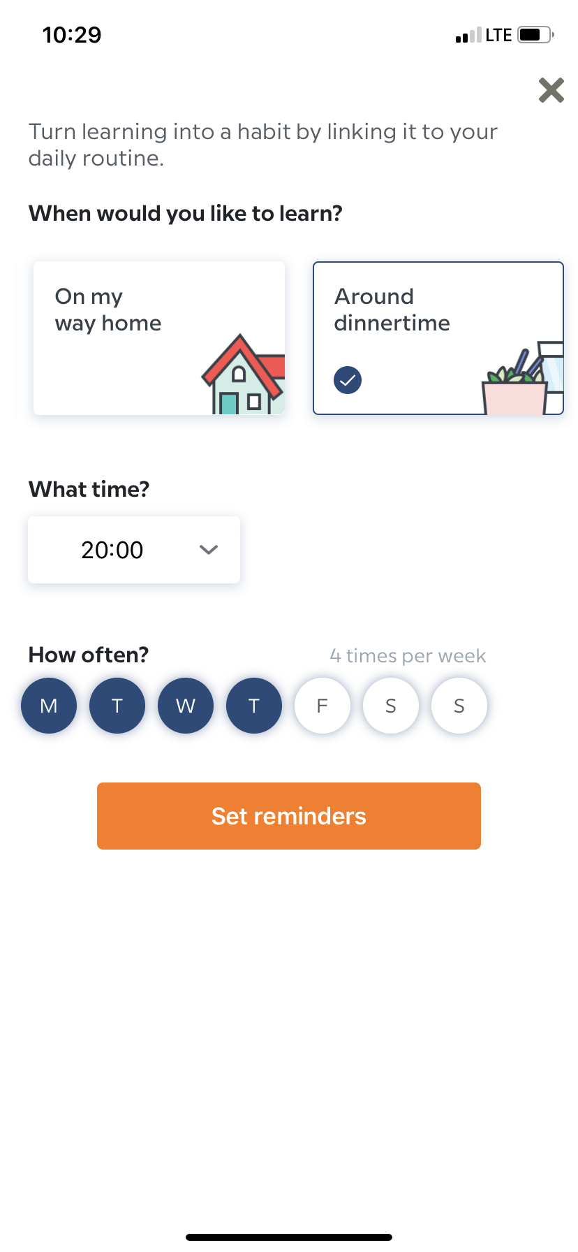 babbel app user onboarding mobile reminders setup screen
