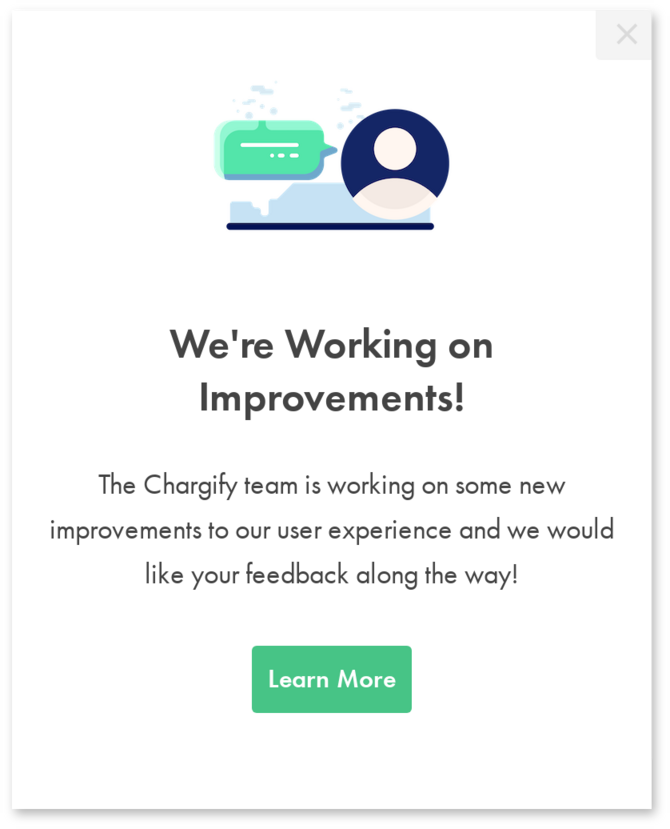 chargify customer user feedback modal made with appcues