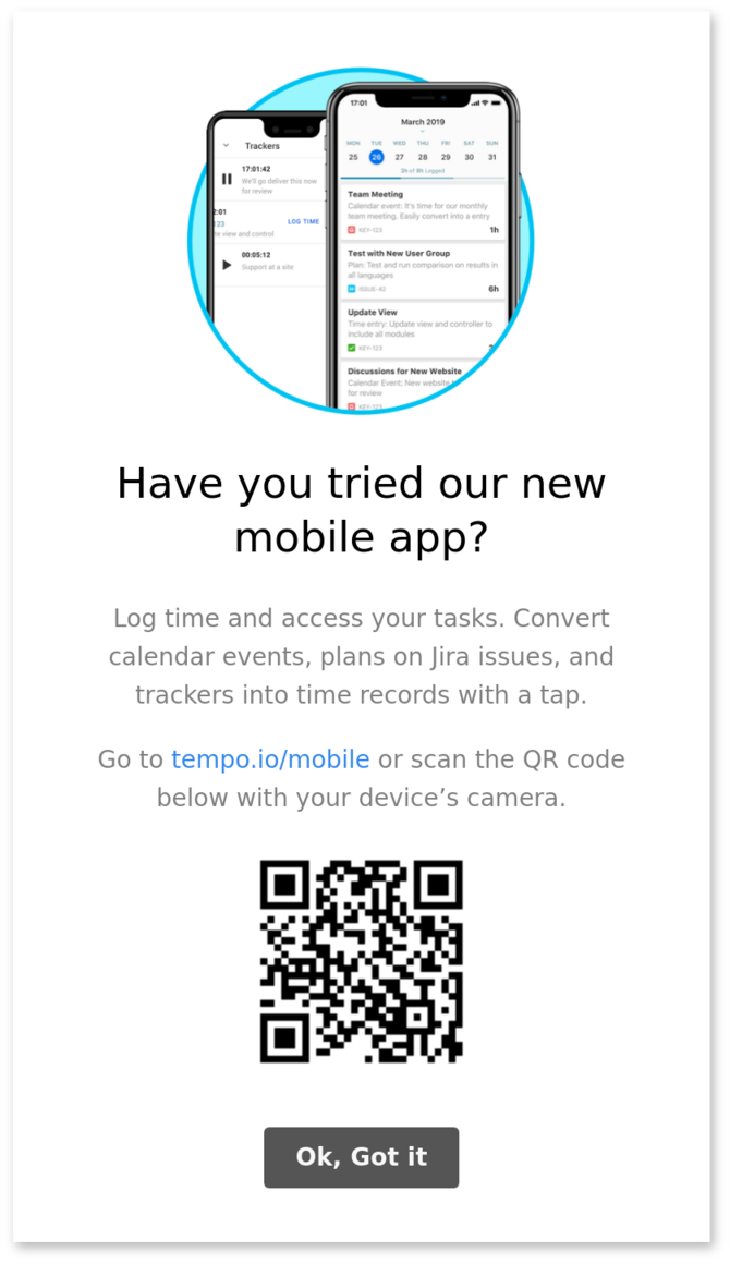 vertical modal window with QR code made with appcues