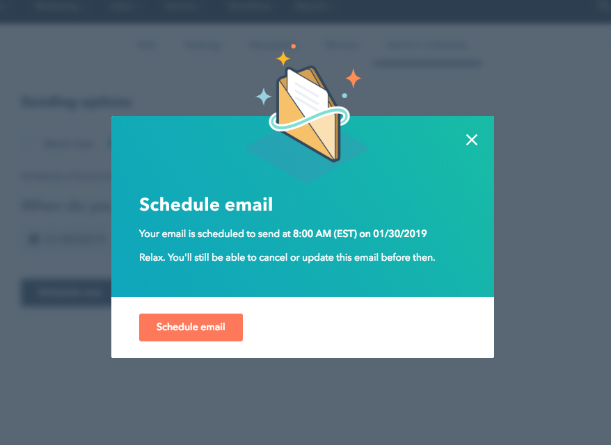 Hubspot's schedule email confirmation modal