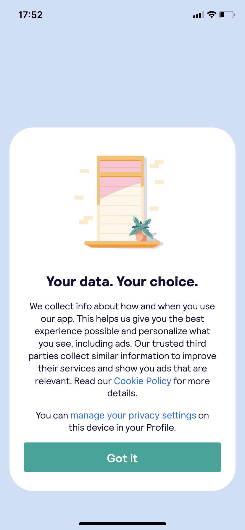 skyscanner mobile app data privacy fullscreen modal window