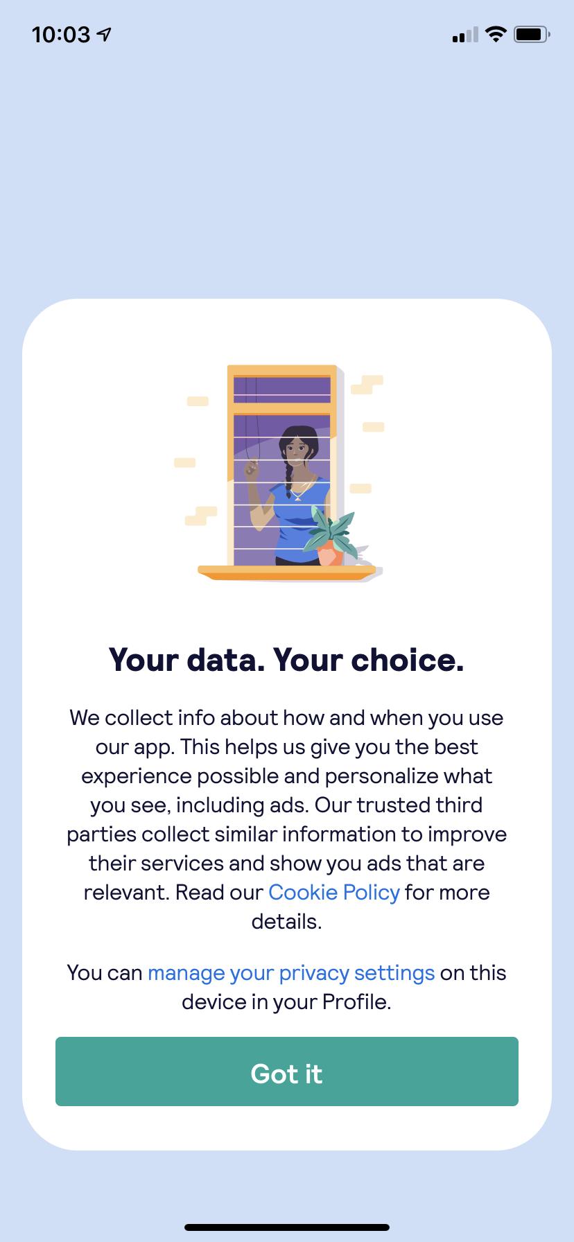 skyscanner mobile app data privacy fullscreen modal window second version