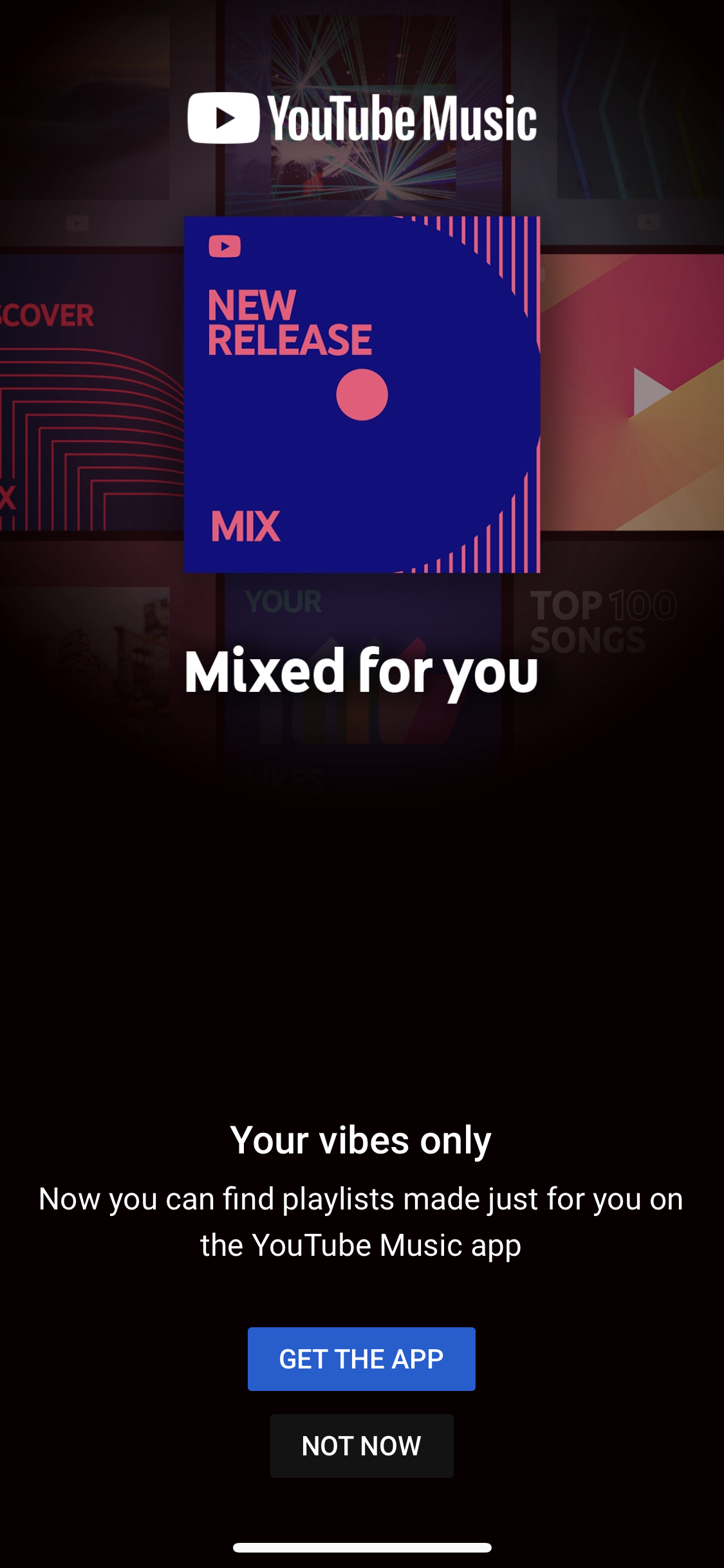 youtube music cross sell advertisement in youtube mobile app
