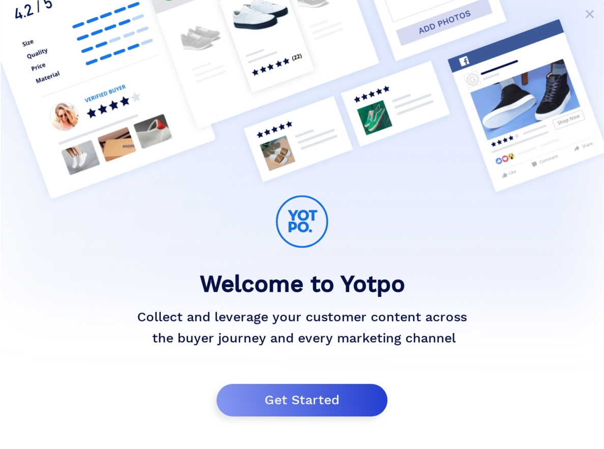 yotpo welcome message user onboarding modal window example
