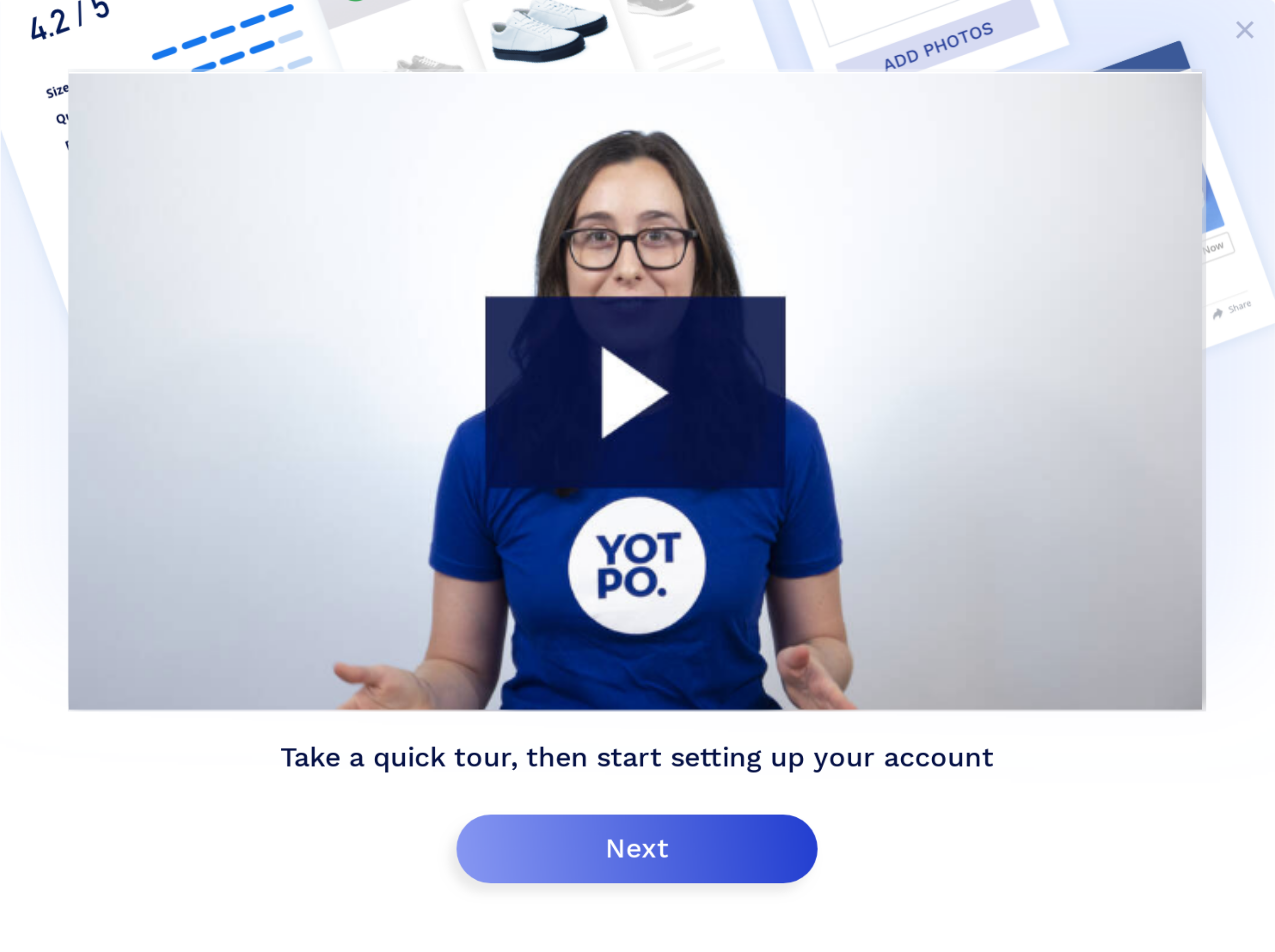 welcome video embedded modal onboarding example