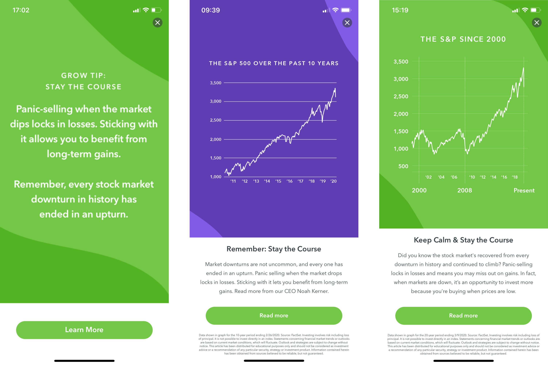 acorns in-app messaging financial downturn panic selling