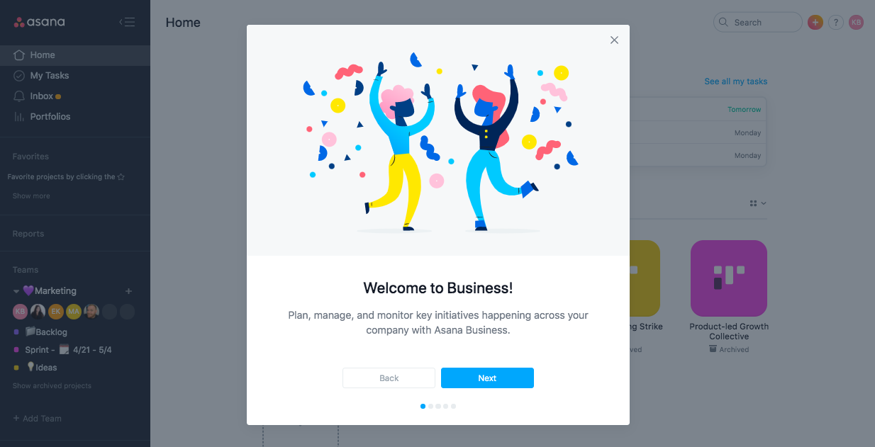 asana business premium onboarding welcome modal example