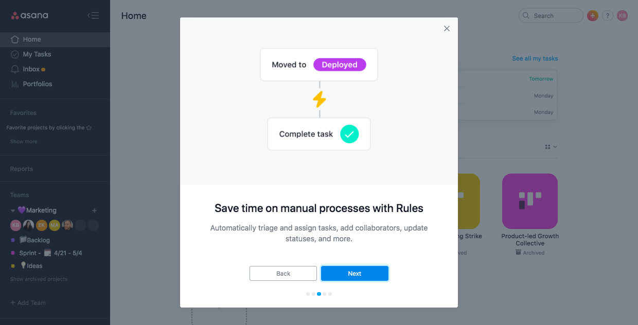 asana business rules feature. premium upgrade onboarding feature adoption modal.
