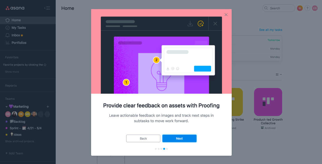 asana business proofing feature. premium upgrade onboarding feature adoption modal.