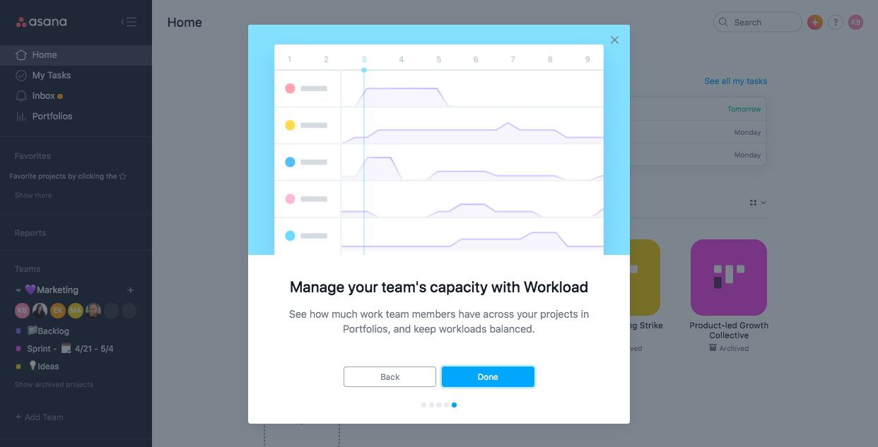 asana business workload feature. premium upgrade onboarding feature adoption modal.