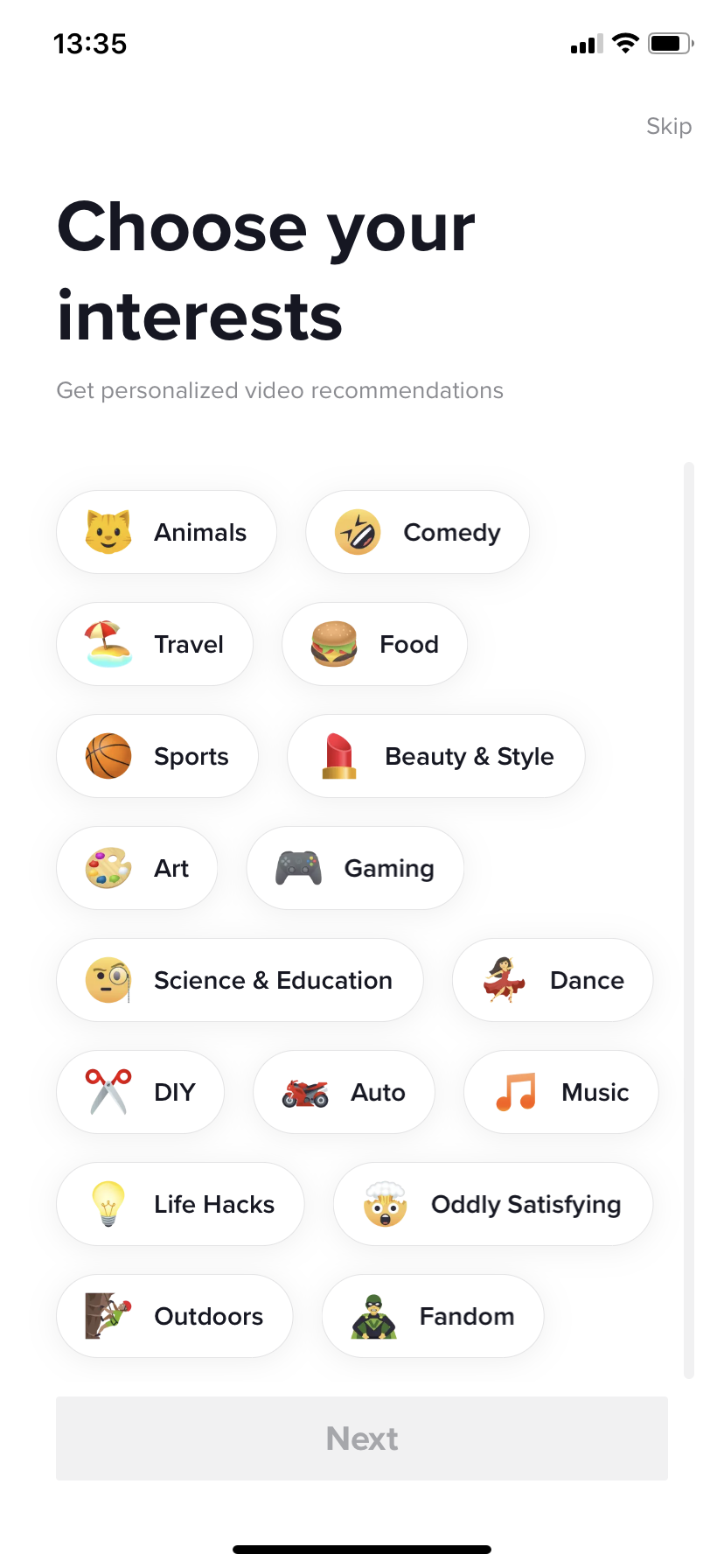 tiktok user onboarding personalization through user interests