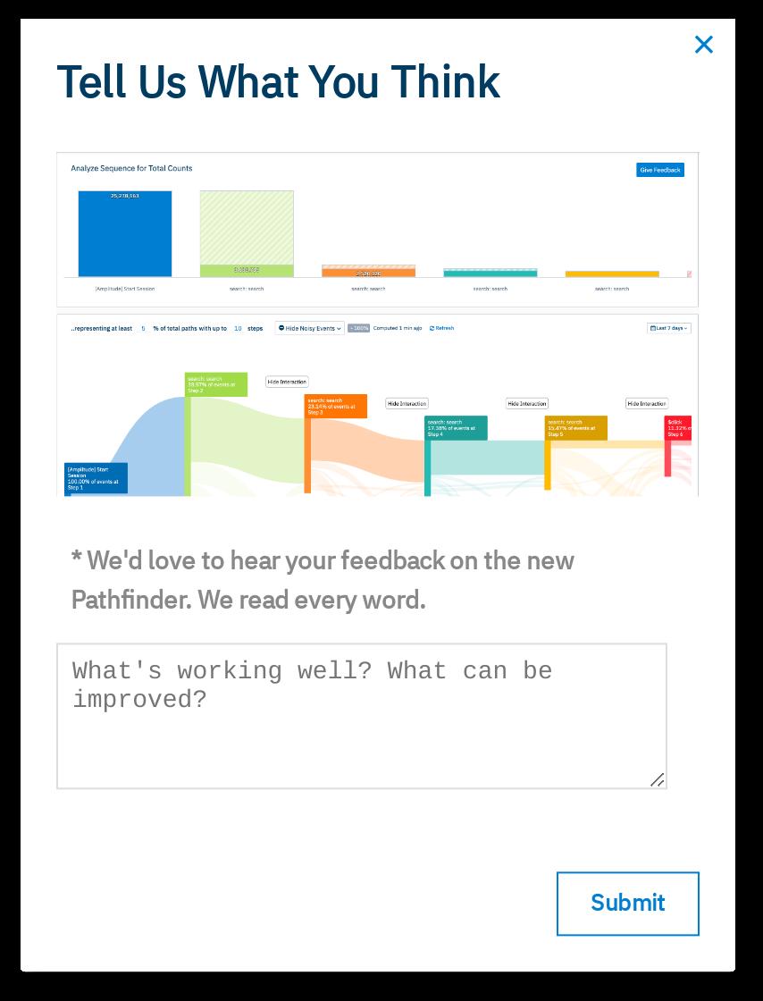 amplitude new feature release announcement in-app modal