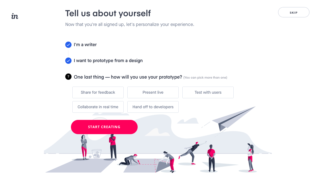 invision signup personalizing questions