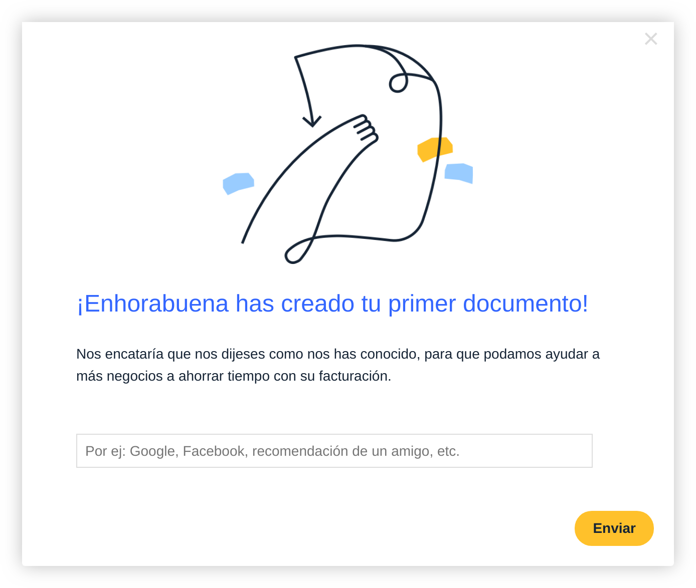 simple in-app user survey modal with illustration and feedback form in spanish/espanol.
