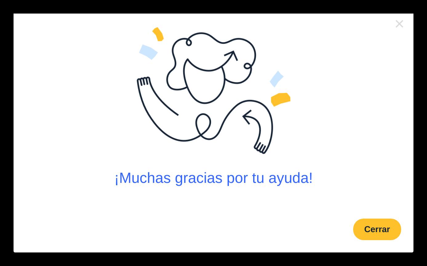 custom in-app message modal in spanish/espanol.