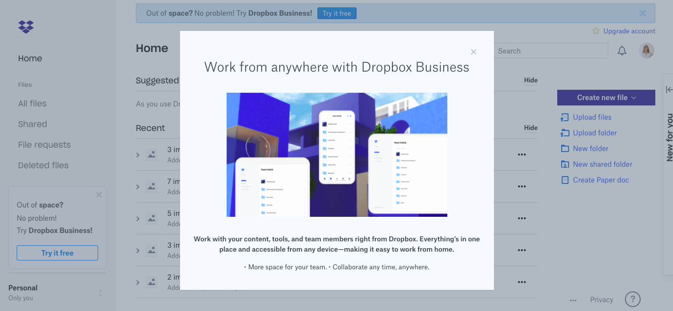 dropbox business upgrade prompt modal