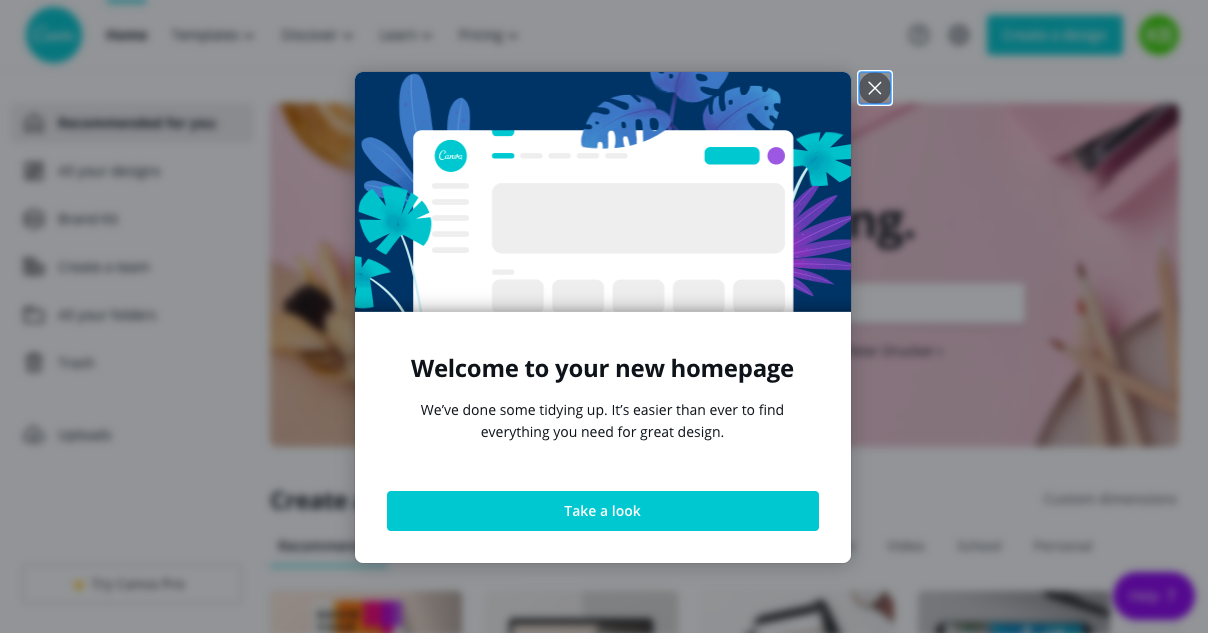 canva homepage redesign welcome modal window