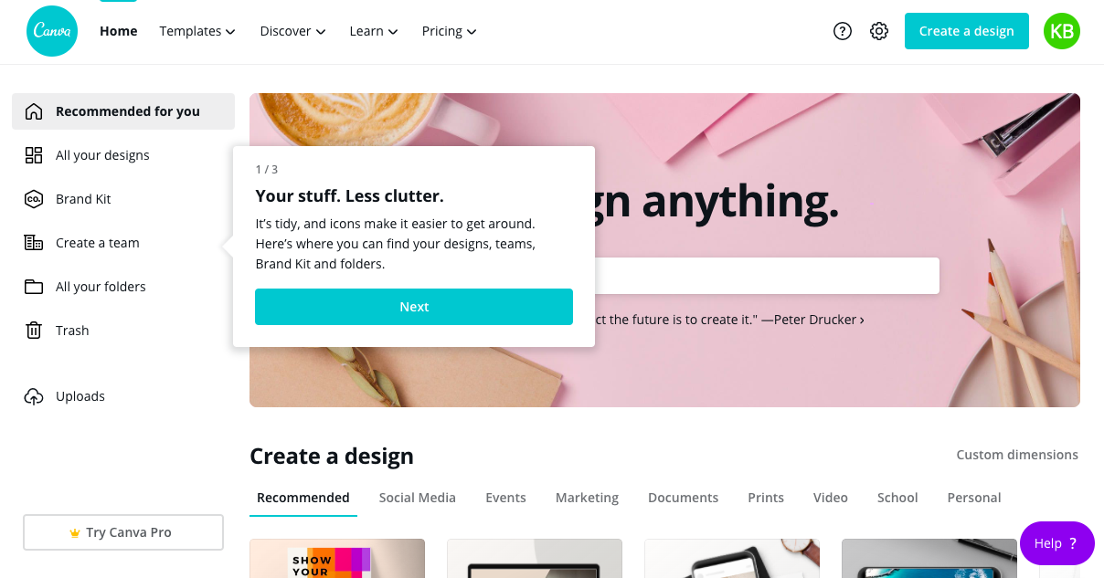 canva homepage redesign tour tooltip 1