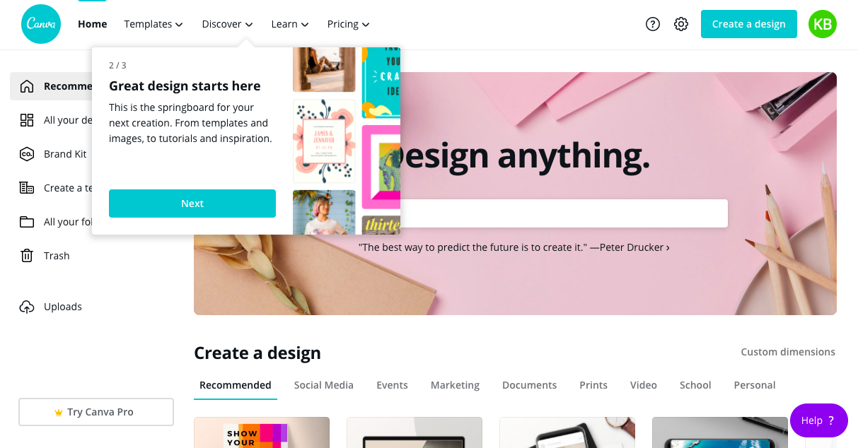 canva homepage redesign tour tooltip 2