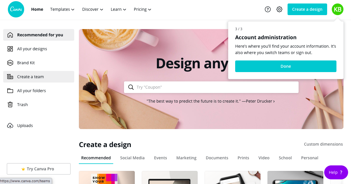 canva homepage redesign tour tooltip 3