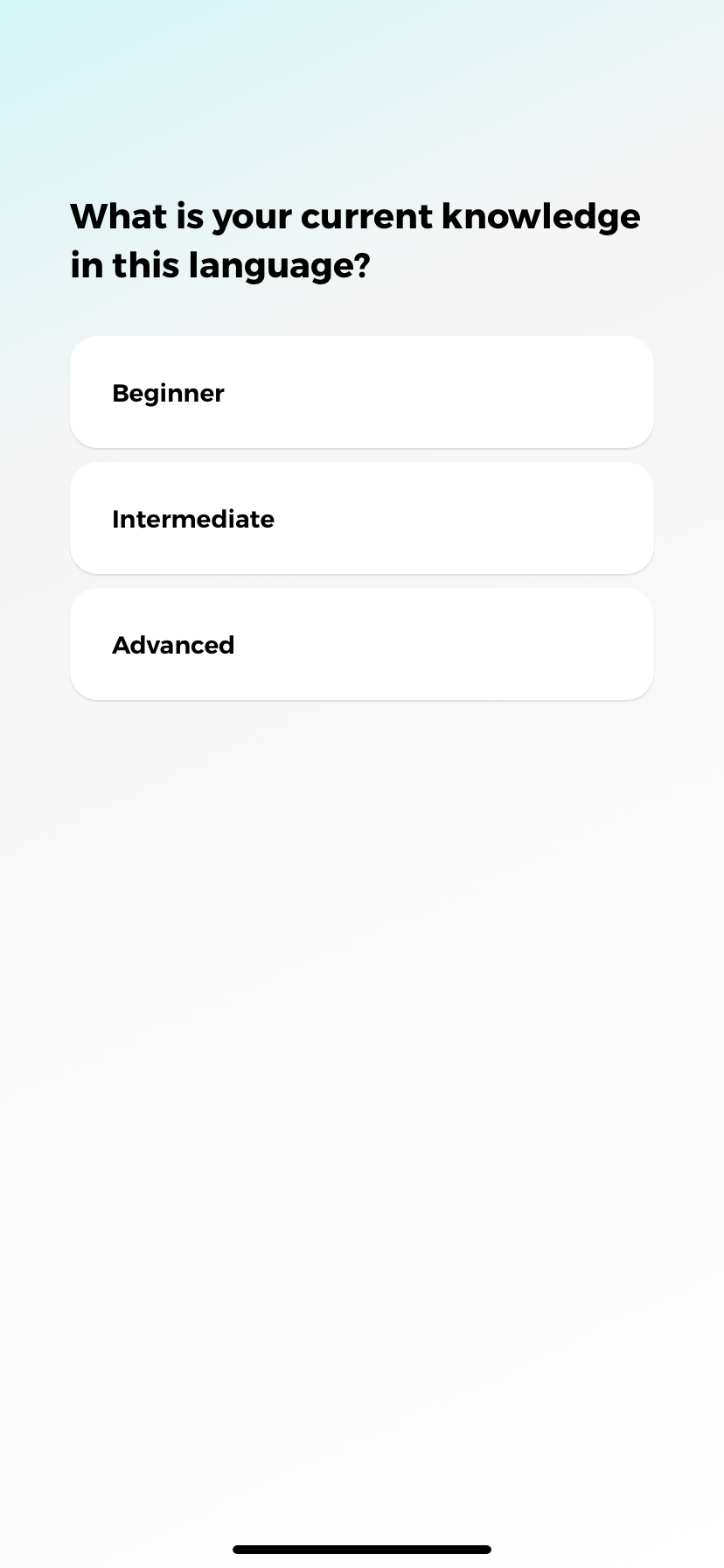 drops language learning app ux screenshot 4 experience level