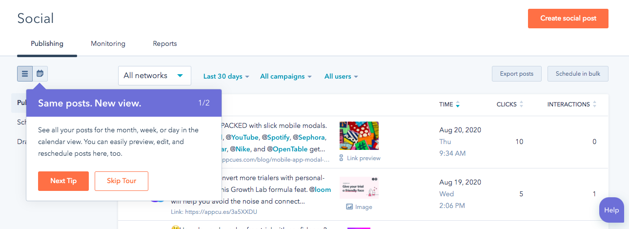 hubspot social scheduling new feature announcement tooltip 1