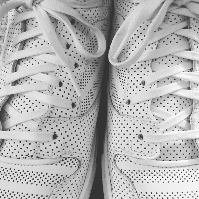 white shoes covered with perforations