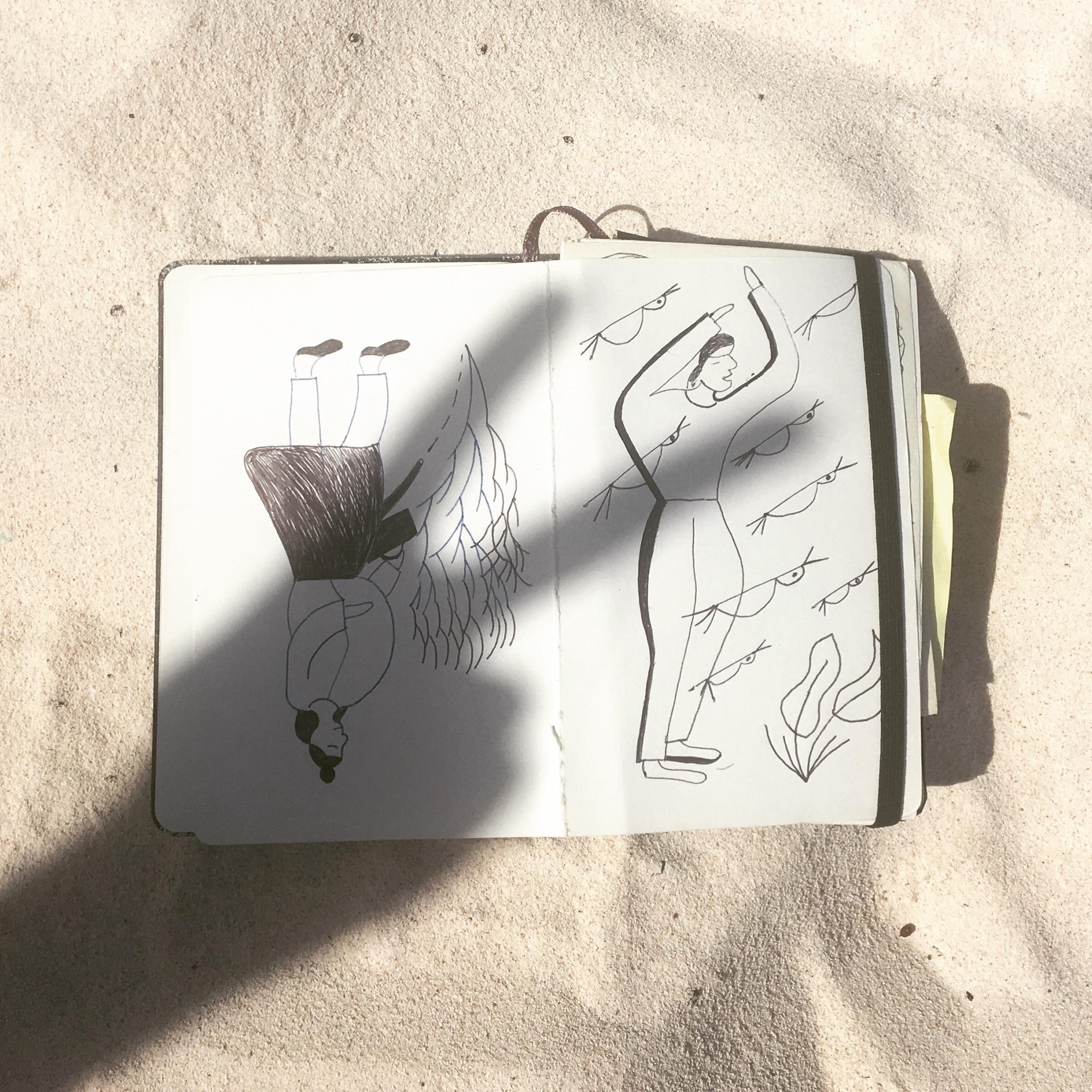 drawing in sketchbook, peace sign shadow
