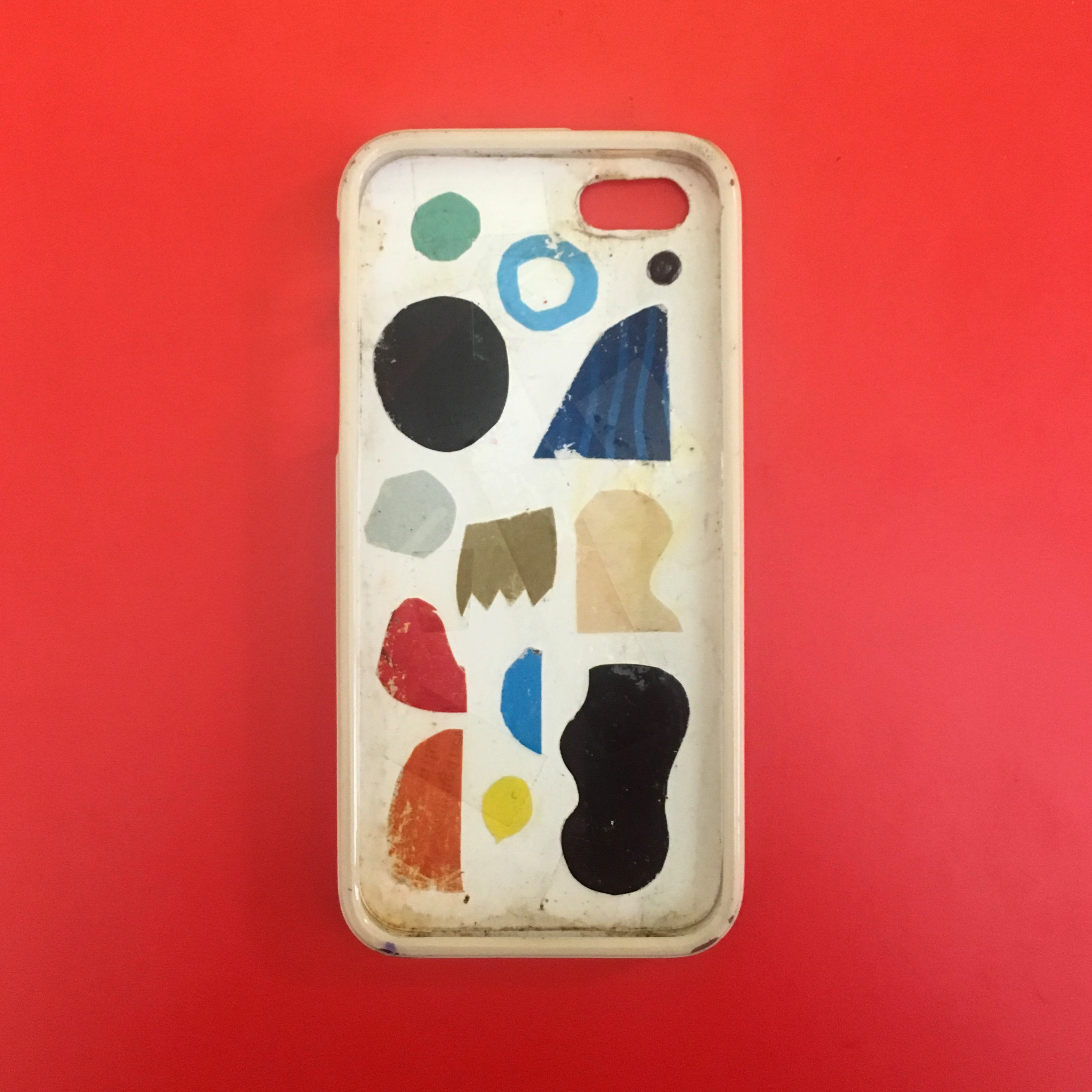 collage with bright shapes on the inside of an iphone case