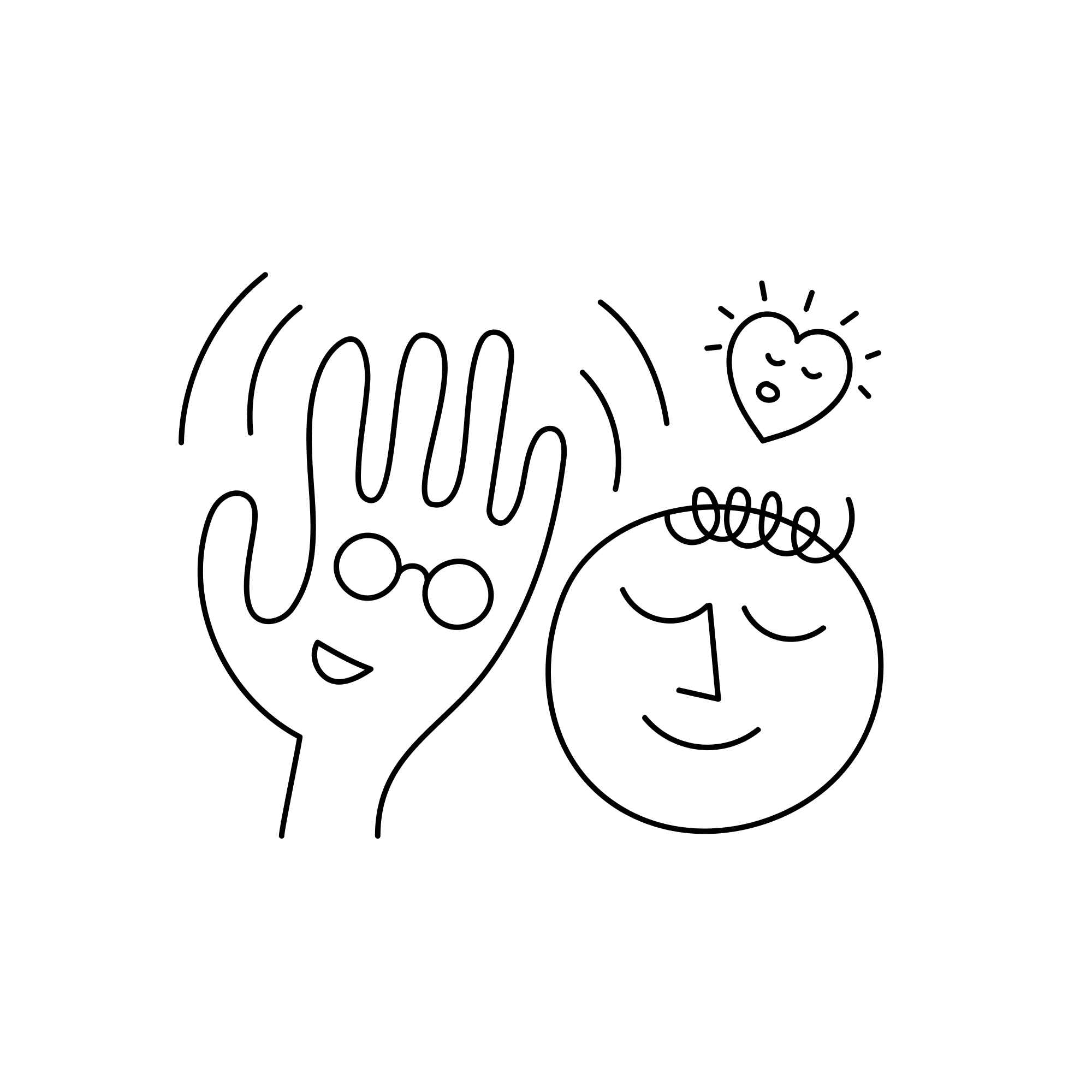 Friendly waving hand wearing glasses, next to a friend finding peace with a heart floating above.