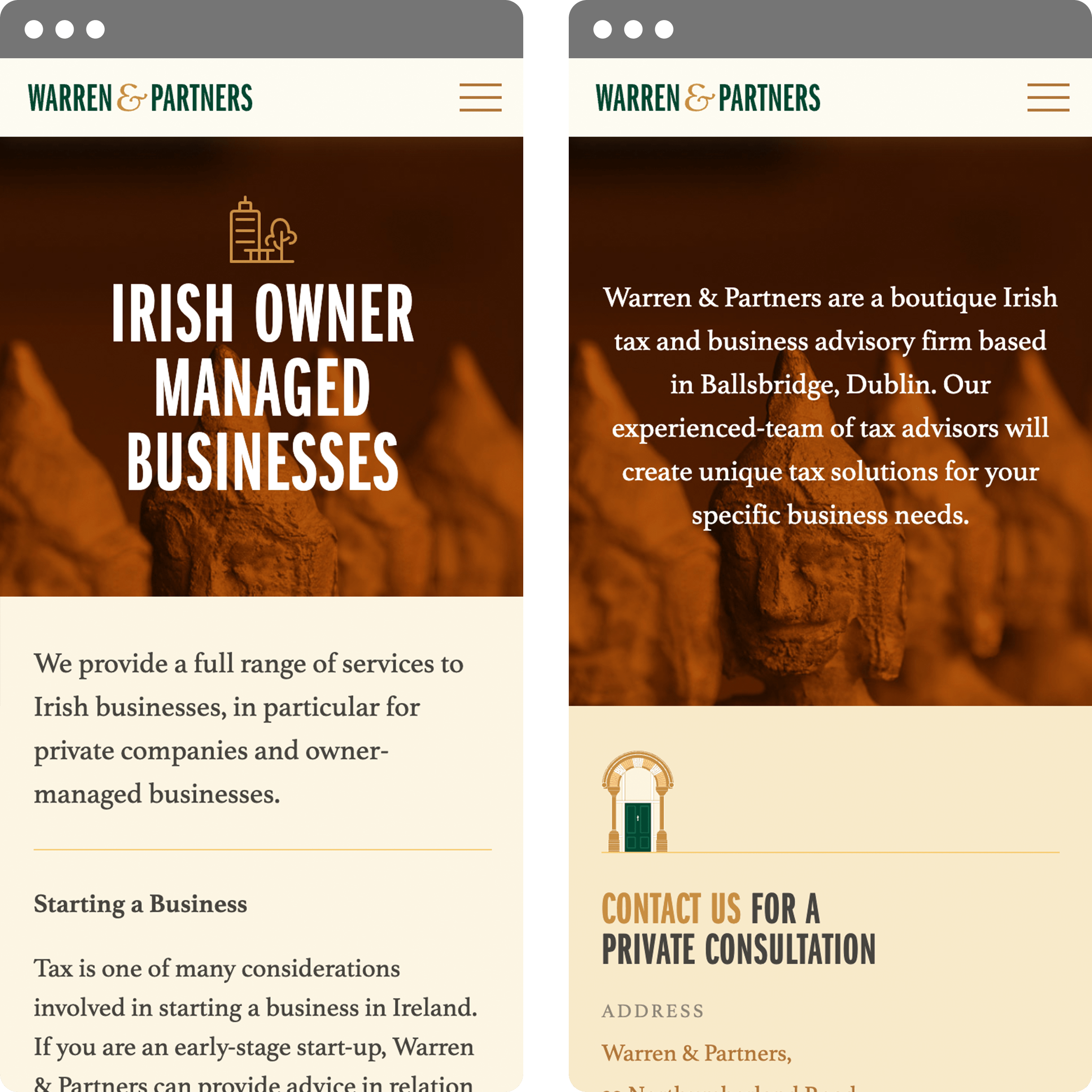 Website design - Mobile views