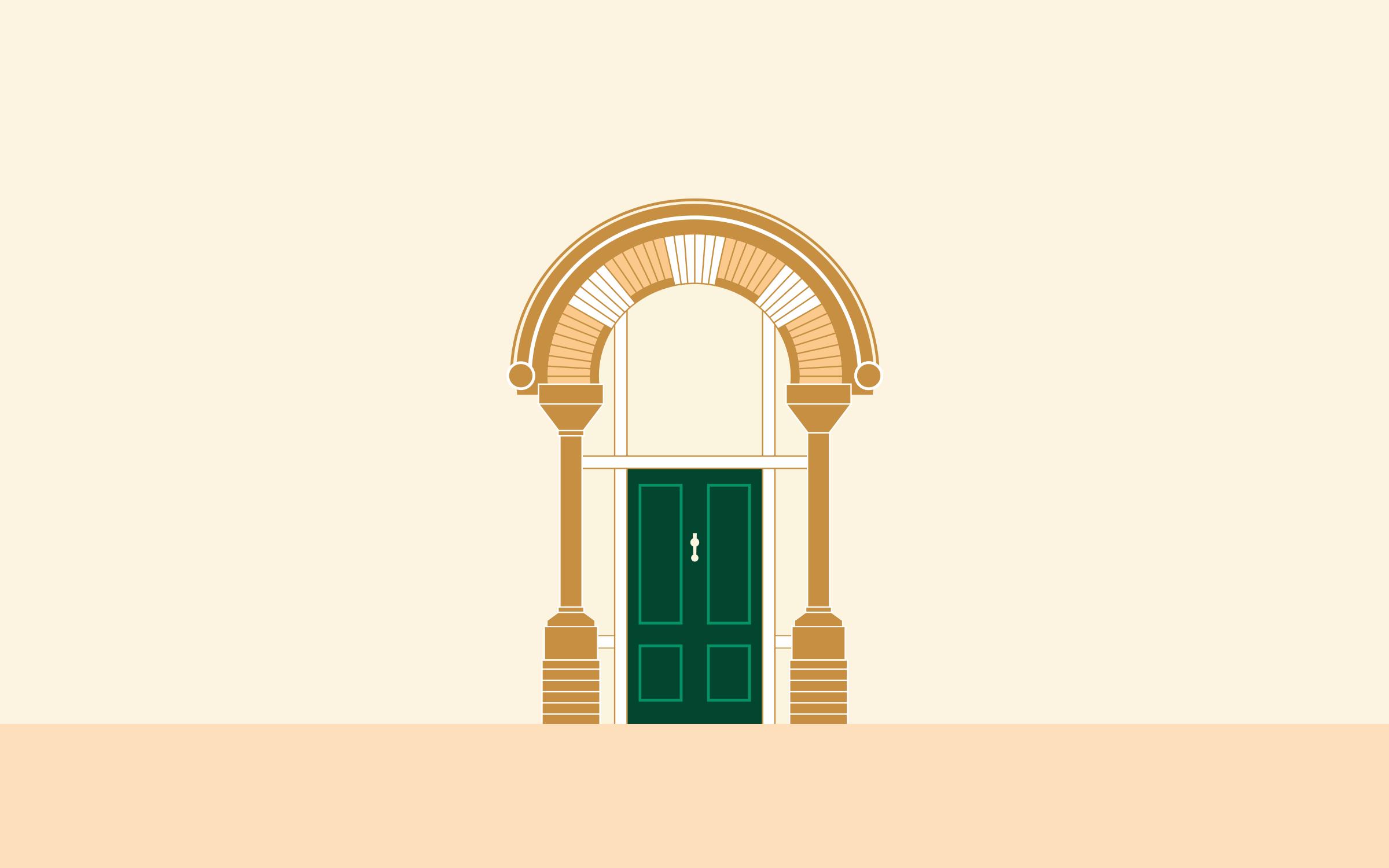 Identity element featuring office door