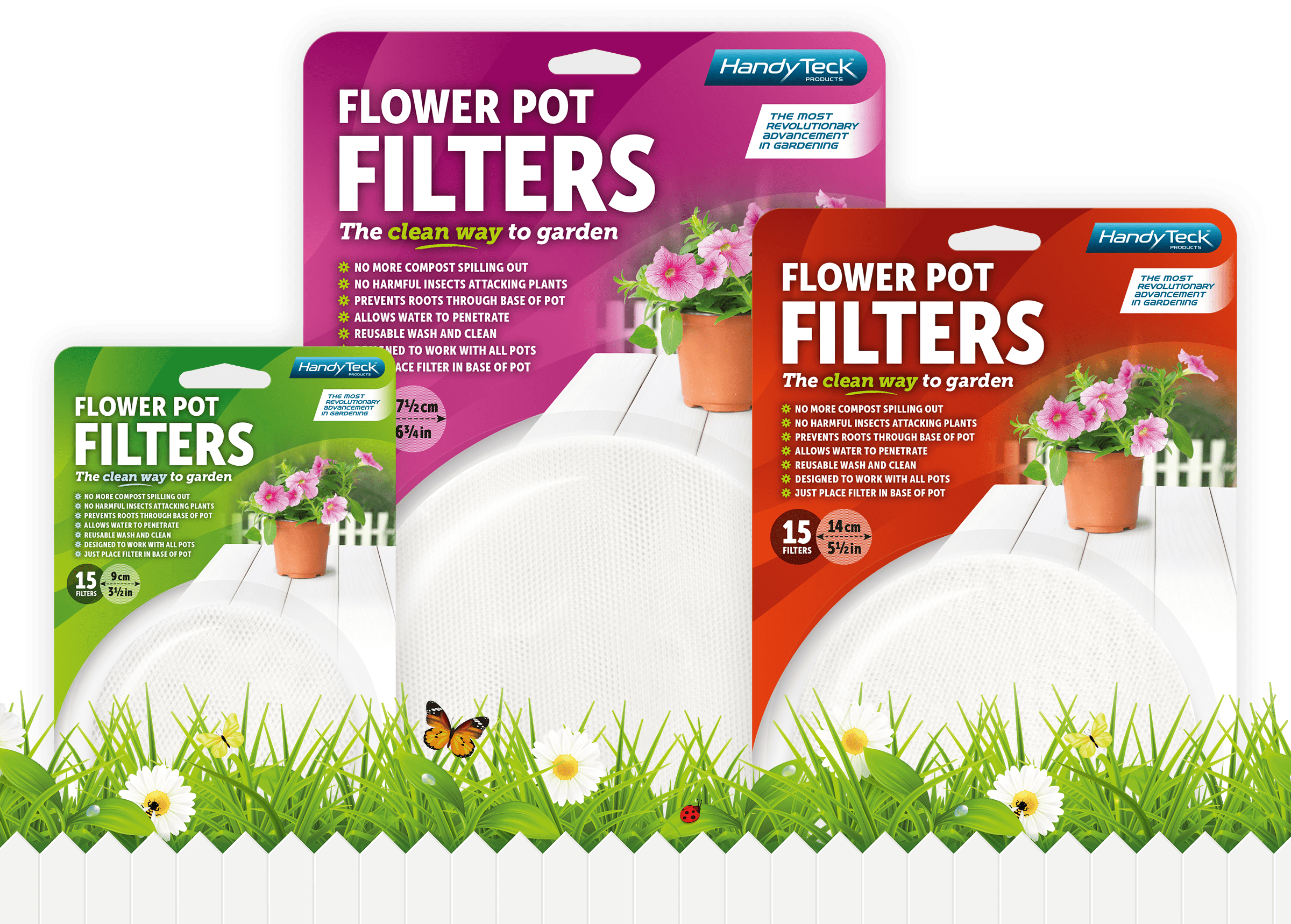HandyTeck Flower Pot Filters Packaging