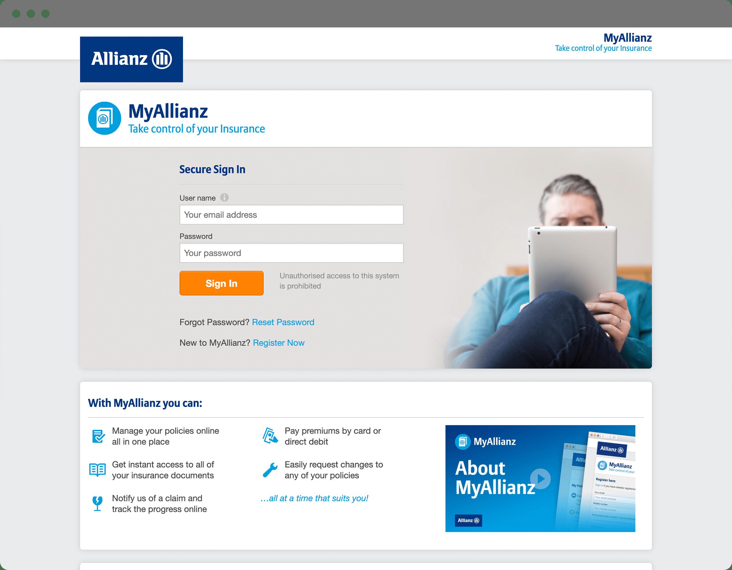 Website design - MyAllianz portal