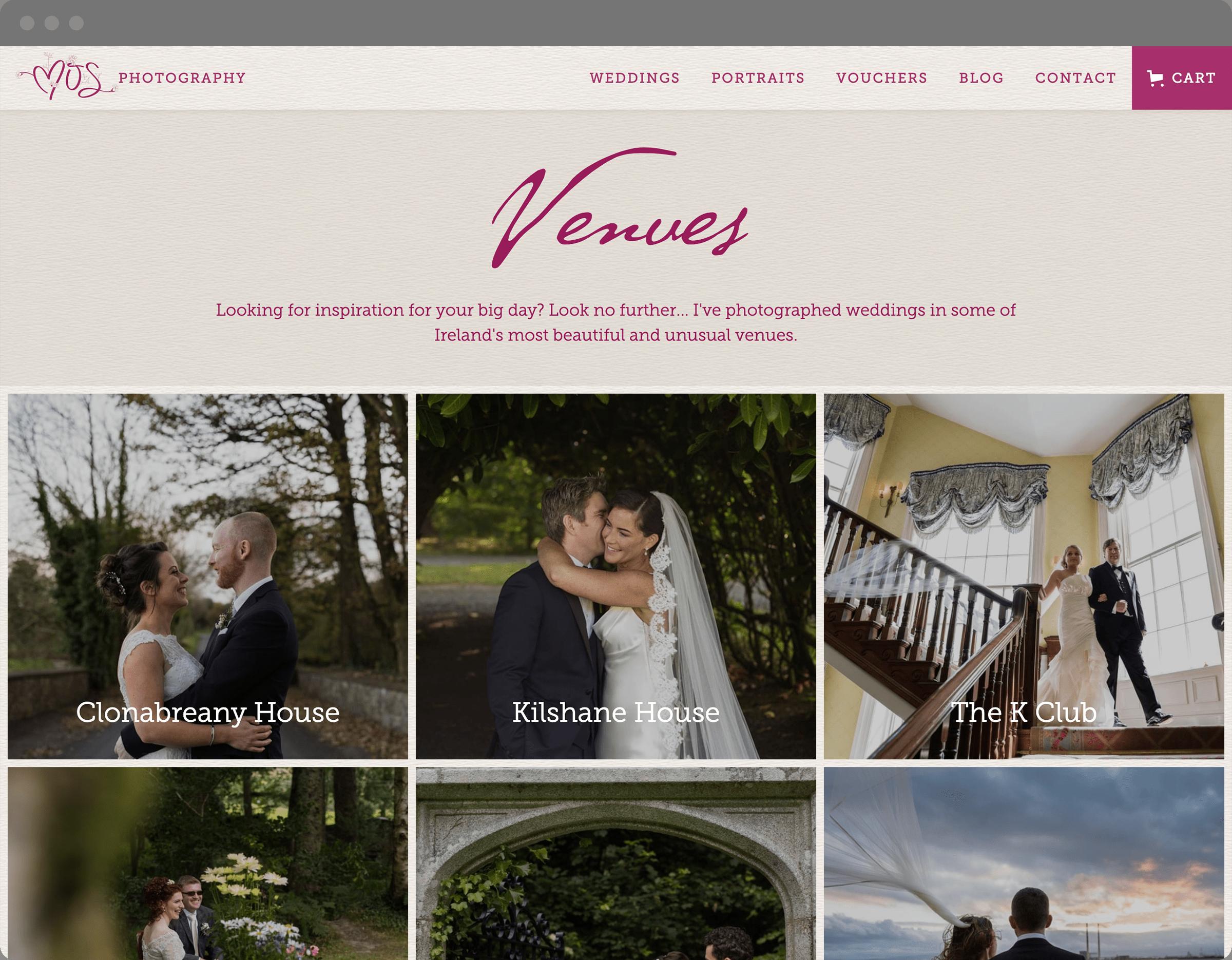 Wedding Venues Website Page