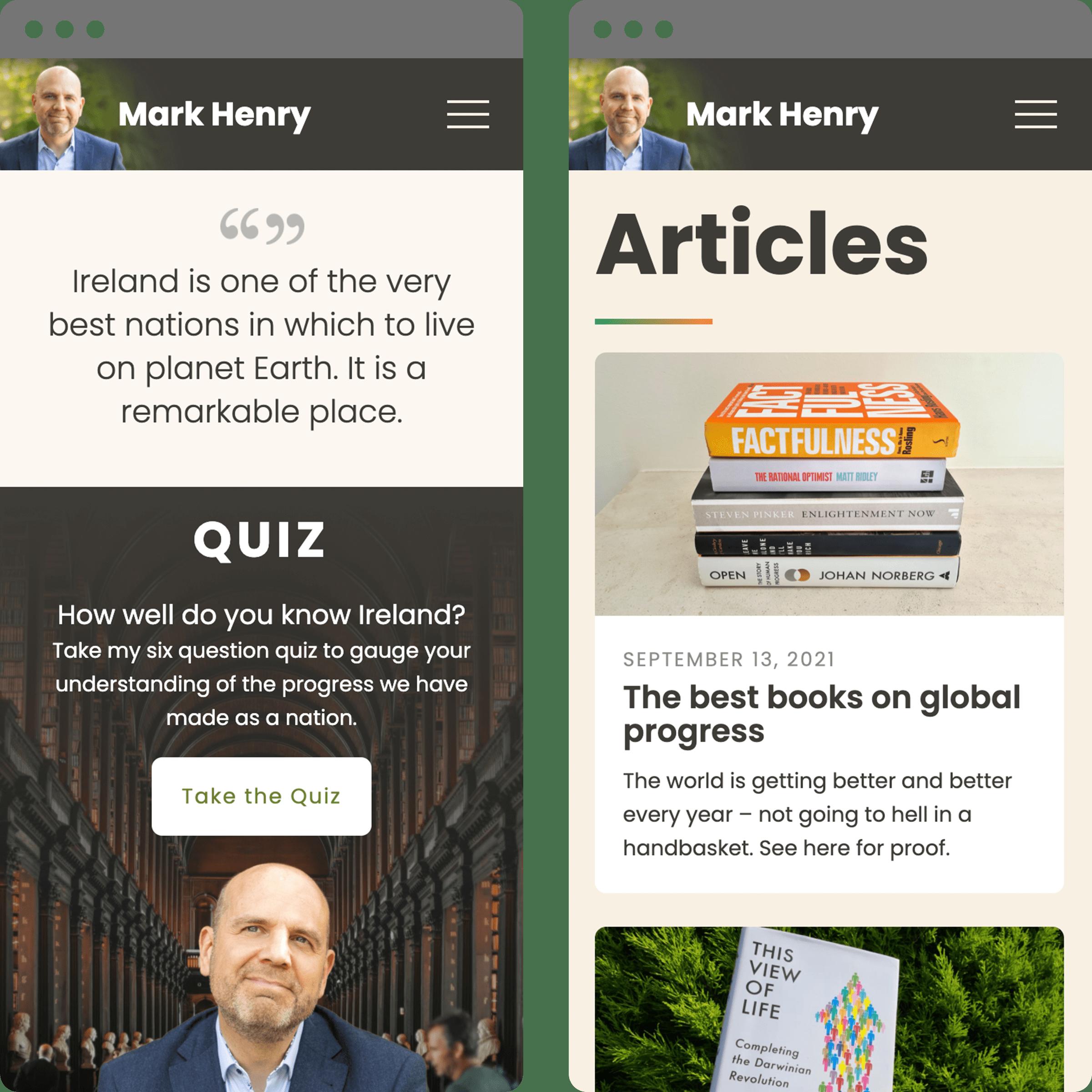 Mark Henry website - mobile views