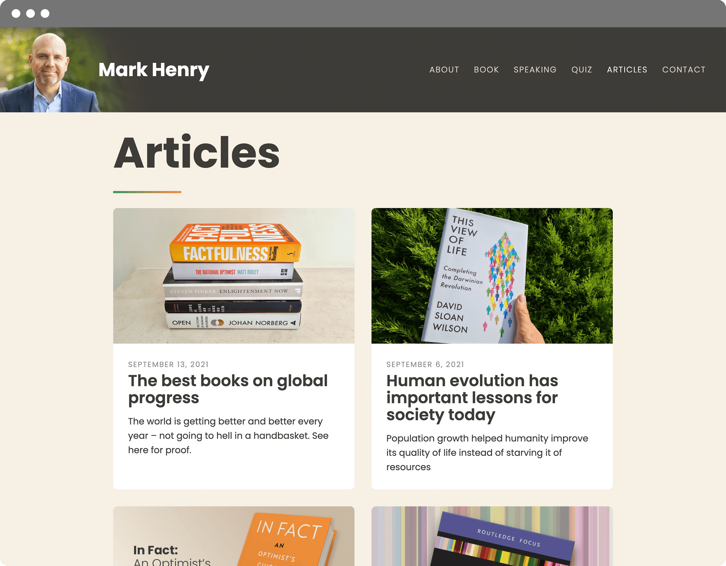 Mark Henry website articles index
