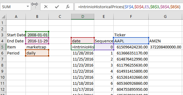 Adding a Date to Historical Market Cap in Excel