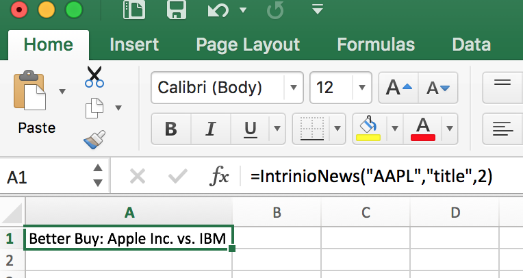 Intrinio News API Article Title in Excel