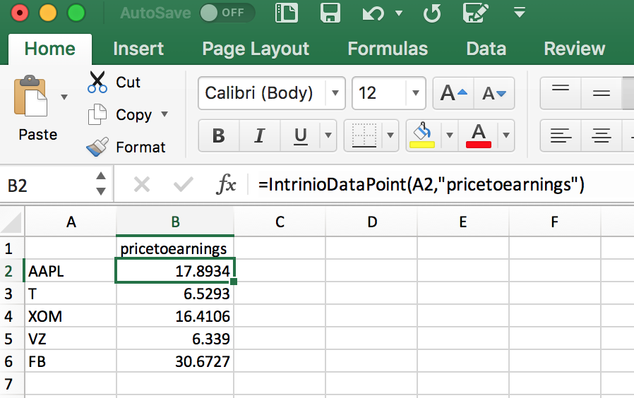 P/E Ratio Formula in Excel